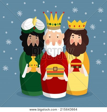 Cute Christmas greeting card, invitation with three magi. Biblical kings Caspar, Melchior and Balthazar, vector illustration background with stars and falling snow.