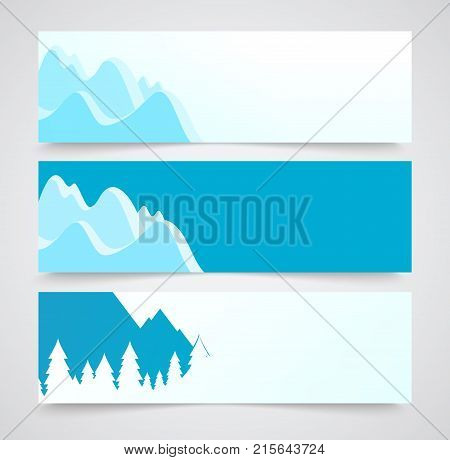 Set of Flayer with Landscape Illustrations of Winter Mountains with Copy Space.