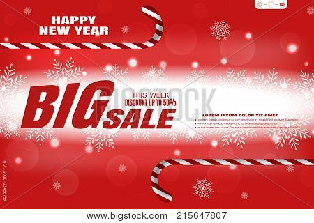 Vector wide red poster for Happy New Year Big sale on the background with snowflakes pattern and striped lollipops.