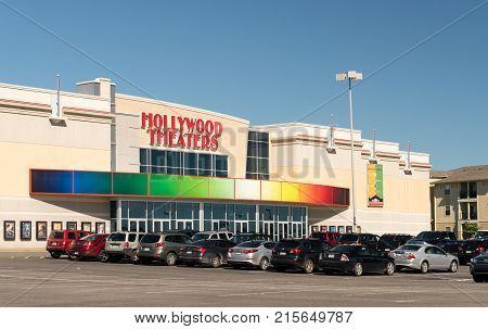 MORGANTOWN, WEST VIRGINIA - JUNE 12, 2016: Hollywood Theaters entrance to cinema in Morgantown, West Virginia