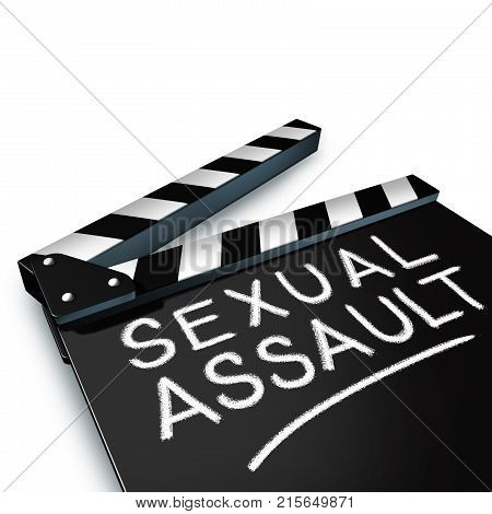 Sexual assault in media and entertainment and criminal physical harassment in the movie or TV industry as a clapboard with written text as a 3D render.