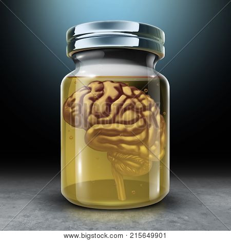Preserve your mind and brain preservation as a medical and psychology symbol for protecting memories and preserving neurology health with 3D render illustration.