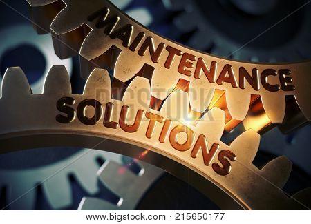 Maintenance Solutions Golden Gears. Golden Metallic Gears with Maintenance Solutions Concept. 3D Rendering.