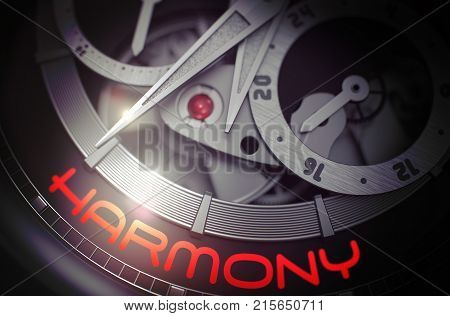 Old Wrist Watch with Harmony on Face, Symbol of Time. Harmony on Automatic Men Pocket Watch Detail, Chronograph Close Up. Business and Work Concept with Glowing Light Effect. 3D Rendering.