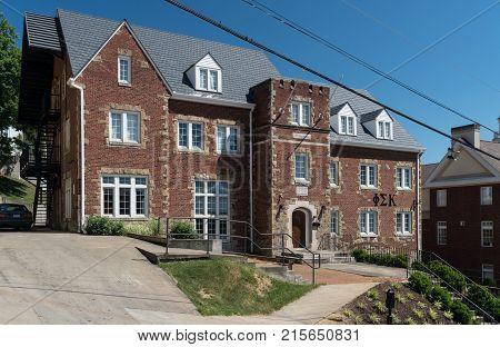 MORGANTOWN, WEST VIRGINIA - JUNE 12, 2016: Phi Sigma Kappa Greek Letter Organization housing at West Virginia University in Morgantown