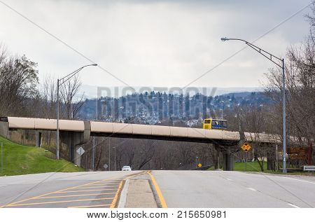 MORGANTOWN, WEST VIRGINIA - APRIL 5, 2016: WVU personal transportation vehicle or tram in Morgantown, home of West Virginia University or WVU