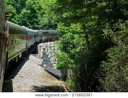 ELKINS, WEST VIRGINIA - JUNE 19, 2016: Tygart Flyer on steep trip into mountains of West Virginia by Durbin and Greenbrier Vallery Railroad