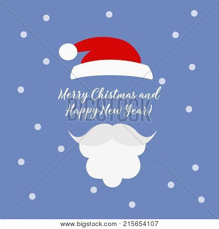Merry Christmas greeting card with Santa Claus. Hipster style. Santa's mustache and glasses. Santa Claus hat and beard.
