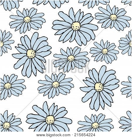 Beautiful blue daisy flowers on whote background. Seamless pattern. Could be used for textile web design