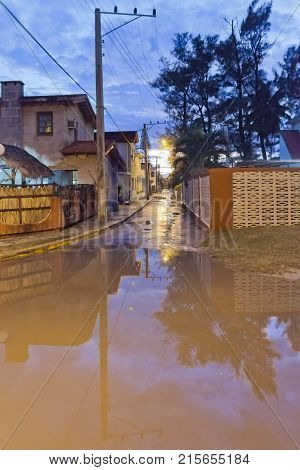 Varadero flooded road after thunderstorms at sunset