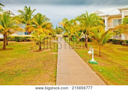 Houses on the beach in Varadero Cuba with clouds