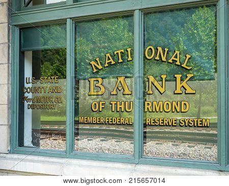 THURMOND, WEST VIRGINIA - AUGUST 26, 2016: National Bank of Thurmond building in ghost town of Thurmond West Virginia