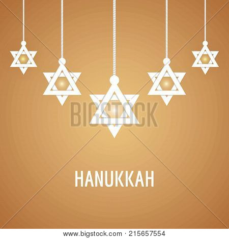 Vector illustration of Happy Hanukkah Jewish holiday background with hanging star of David. Hanukkah background for holidy design poster and banners