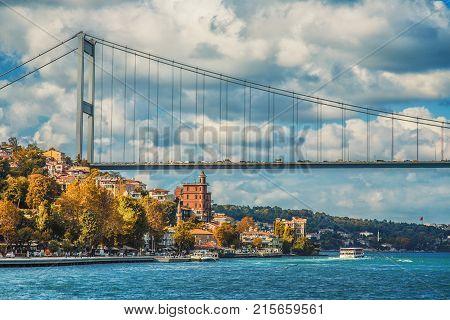 Borusan Contemporary Perili Kosk and the Fatih Sultan Mehmet Bridge on the Bosphorus in autumn Istanbul Turkey