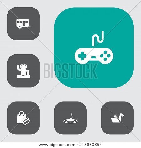 Collection Of Joystick, Payment, Rod And Other Elements.  Set Of 6 Hobbie Icons Set.
