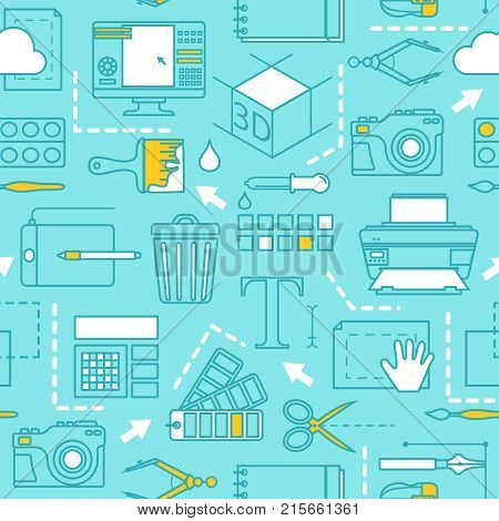 Different tools for computer designers. Vector seamless pattern, Illustration of computer designer tool for digital drawing