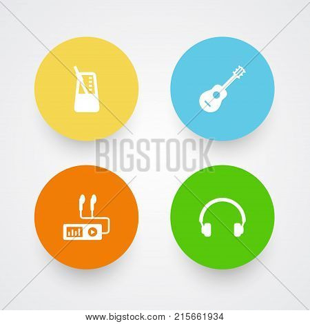 Collection Of Earphones, Acoustic, Audio Device And Other Elements.  Set Of 4 Music Icons Set.