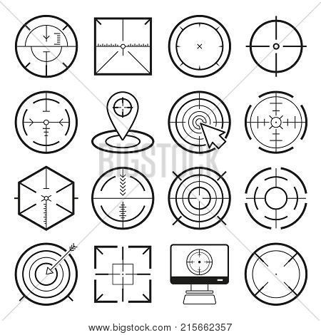 Different icon set of targets and destination. Target and aim, targeting and aiming. Vector illustration