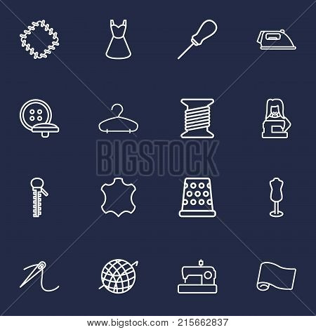 Collection Of Tremble, Buttons, Sewing And Other Elements.  Set Of 16 Stitch Outline Icons Set.