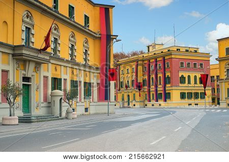 Tirana Albania. November 26 2017: Newly reconstructed city central Skanderbeg square decorated with red and black and raised National Flag for Independence Day celebration.