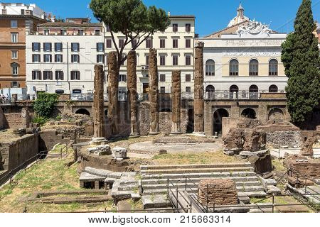 ROME, ITALY - JUNE 23, 2017: Amazing view of Largo di Torre Argentina in city of Rome, Italy