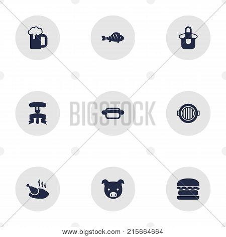 Collection Of Ale, Restaurant, Fast Food And Other Elements.  Set Of 9 Bbq Icons Set.