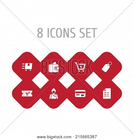 Collection Of Seller, Billfold, Ticket And Other Elements.  Set Of 8 Shopping Icons Set.