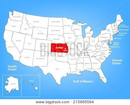 Vector Map of the United States Highlighting the State of Kansas