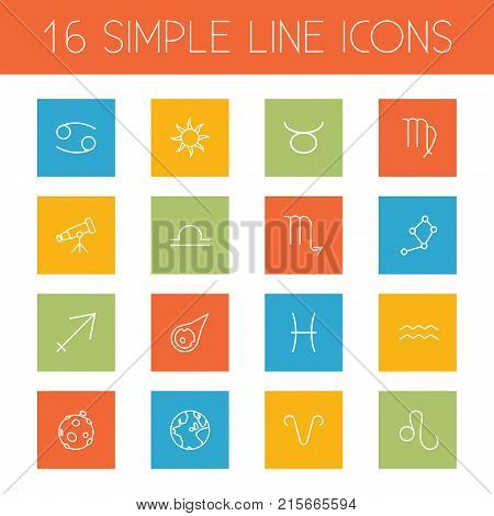 Collection Of Pisces, Globe, Sagittarius And Other Elements.  Set Of 16 Astronomy Outline Icons Set.