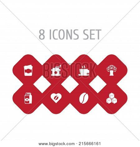 Collection Of Timber, Sweetener, Coffee Mill And Other Elements.  Set Of 8 Beverage Icons Set.