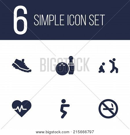 Collection Of Kegling, Cigarette Forbidden, Heartbeat And Other Elements.  Set Of 6 Fitness Icons Set.