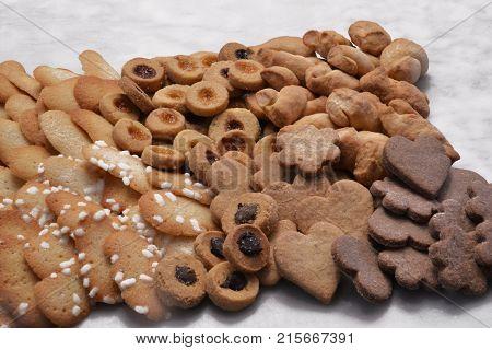 Assorted cookies background.