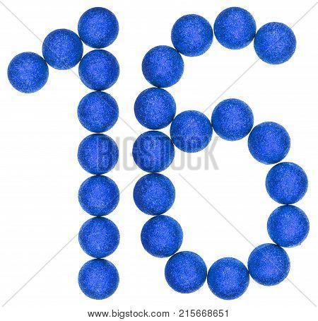 Numeral 16, Sixteen, From Decorative Balls, Isolated On White Background