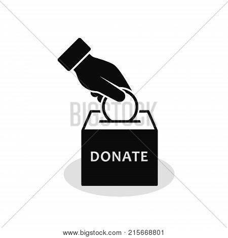Hand putting money to the donation box icon. Donation concept. Vector flat style illustration.