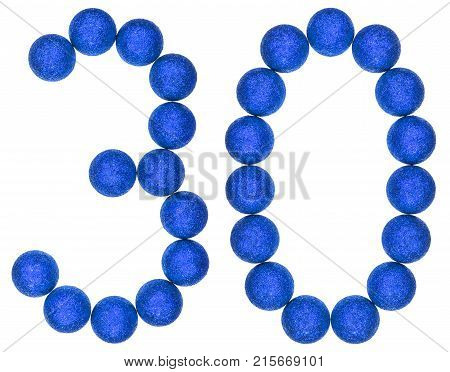 Numeral 30, Thirty, From Decorative Balls, Isolated On White Background