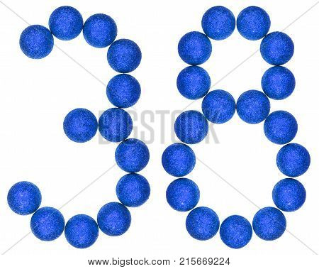 Numeral 38, Thirty Eight, From Decorative Balls, Isolated On White Background
