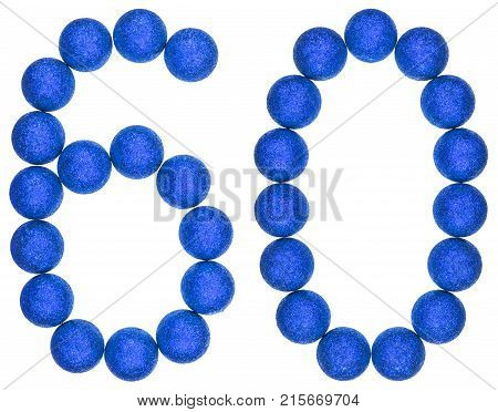 Numeral 60, Sixty, From Decorative Balls, Isolated On White Background