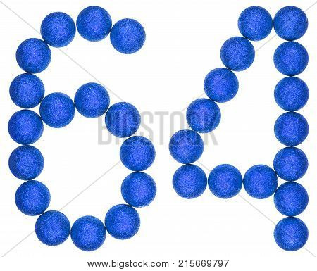 Numeral 64, Sixty Four, From Decorative Balls, Isolated On White Background