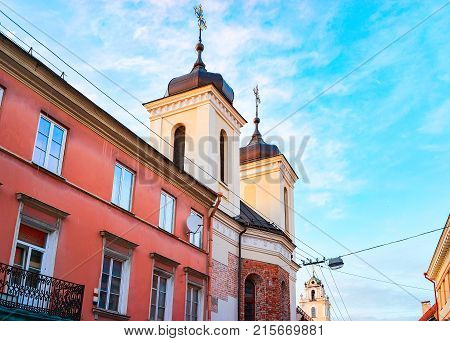Church of Holy Spirit in the Old city in Vilnius Lithuania