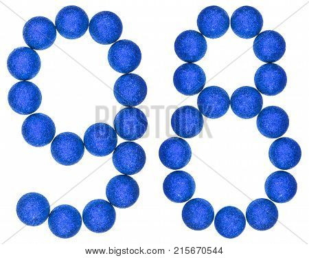 Numeral 98, Ninety Eight, From Decorative Balls, Isolated On White Background