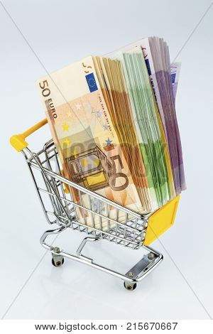 banknotes in a shopping cart