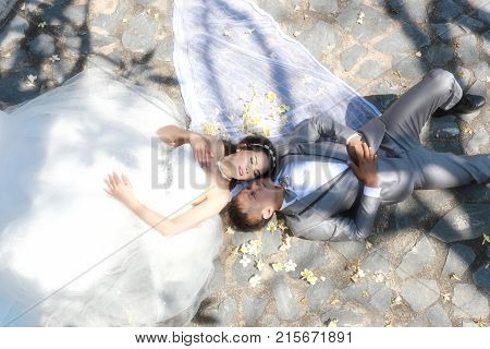Asian couple photographed before marriage is Pre-wedding on Koh Si Chang Island Popular locations in the Chonburi province at Thailand.