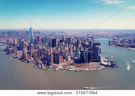 Aerial view on Manhattan and Hudson River and East River New York USA