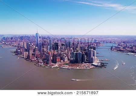 Manhattan with East River and Hudson River New York USA