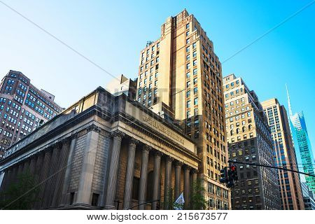 New York USA - May 6 2015: Greenwich Savings Bank in Midtown Manhattan in New York NYC USA. Now the building is called Haier Building. Because Haier America bought it in 2000.