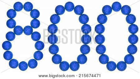 Numeral 800, Eight Hundred, From Decorative Balls, Isolated On White Background
