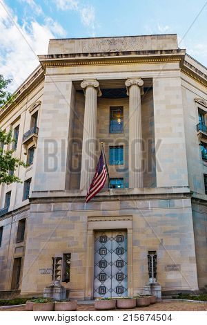 Washington DC USA - May 2 2015: Department of Justice is located in Washington. It is federal executive department of USA government. It is responsible for justice administration and law enforcement