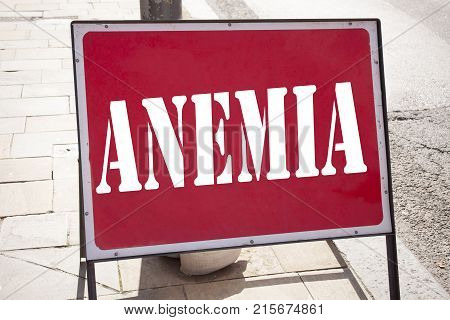 Conceptual Hand Writing Text Caption Inspiration Showing Anemia. Business Concept For Medical Diagno
