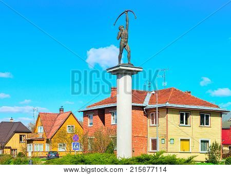 Druskininkai Lithuania - May 1 2017: Archer sculpture at the crossroads with rotary motion in Druskininkai Lithuania.