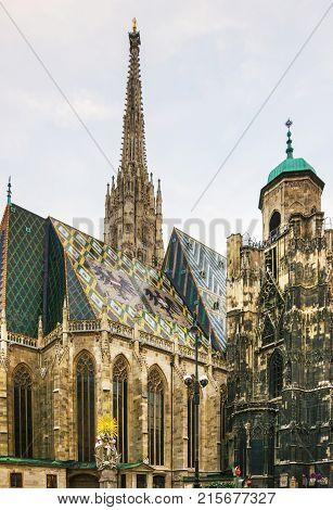 Vienna Austria - August 31 2013: St Stephen Cathedral spire in Stephansplatz in Vienna Austria